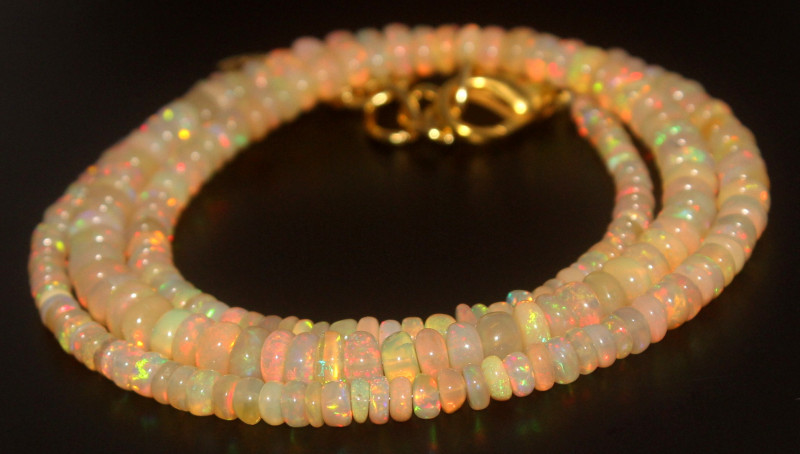 43.95 Crts Natural Ethiopian Welo Opal Beads Necklace 743