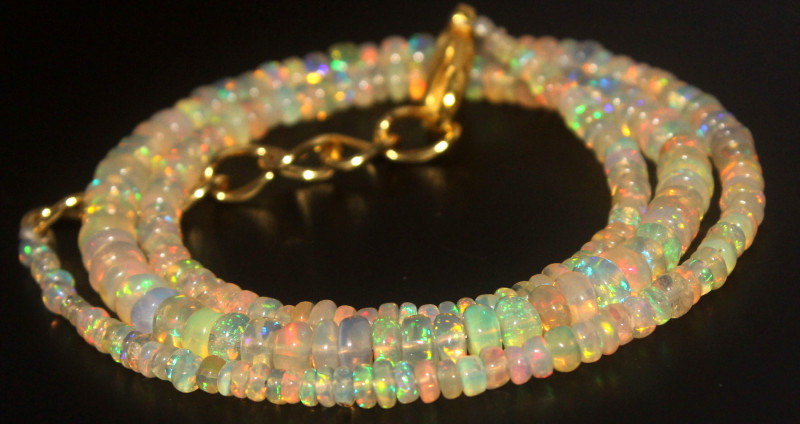 36.65 Crts Natural Ethiopian Welo Opal Beads Necklace 748