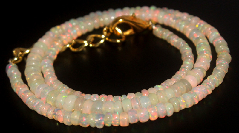 33.30 Crts Natural Ethiopian Welo Opal Beads Necklace 752