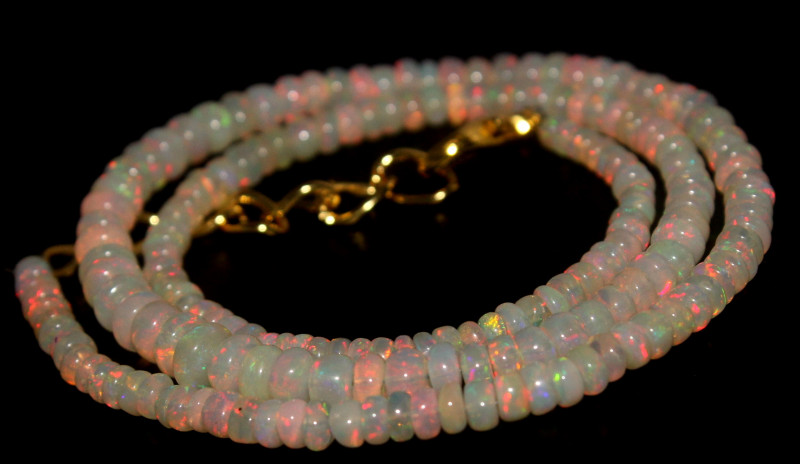 36.45 Crts Natural Ethiopian Welo Opal Beads Necklace 760