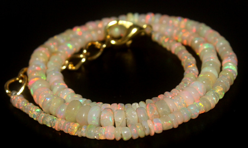 39.40 Crts Natural Ethiopian Welo Opal Beads Necklace 764