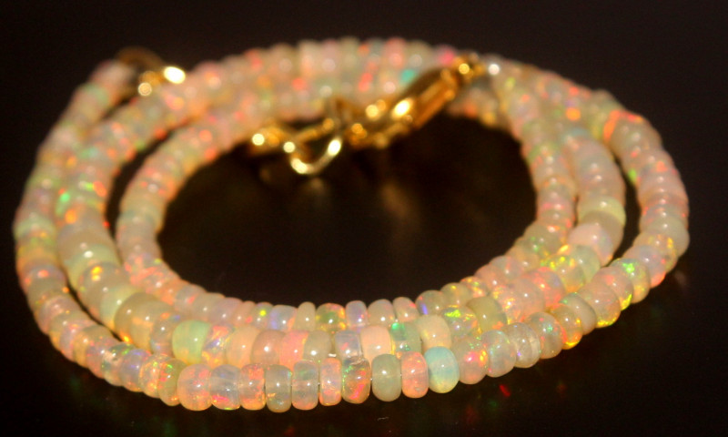 35.55 Crts Natural Ethiopian Welo Opal Beads Necklace 799