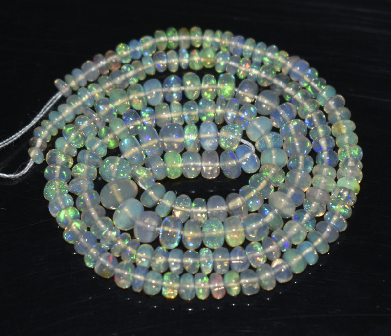 27.35 Ct Natural Ethiopian Welo Opal Beads Play Of Color OB16