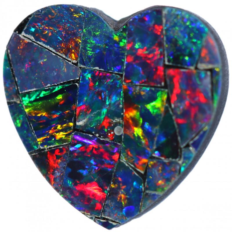 1.94 CTS GEM HEART SHAPE OPAL MOSAIC  NATURAL DOUBLET  [SO2195]6