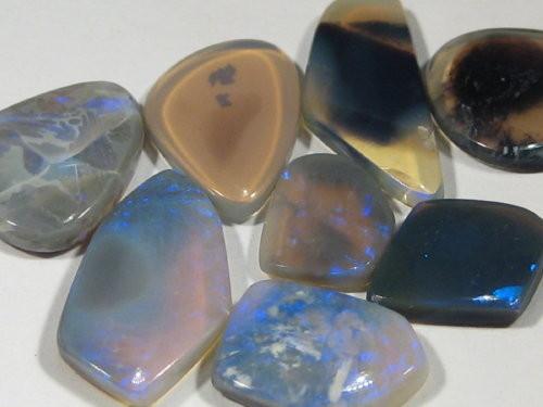 YowahOpals*11.15ct -Black Opal - Parcel - 8 stones