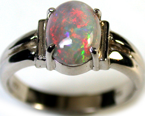 RED SHIMMER BLACK OPAL 18K WHITE GOLD RING SIZE 6.5 SCA1280