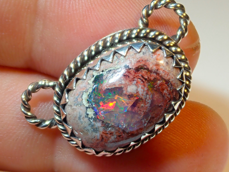 29ct Natural Mexican Opal .925 Sterling Silver