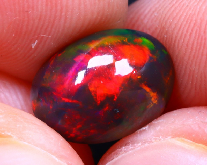Welo Opal 2.36Ct Natural Smoked Ethiopian Play of Color Opal G1007/A3