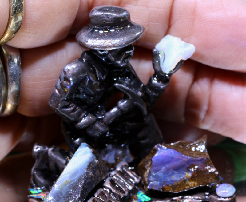 298 CTS- OPAL MINER STATUE WITH OPALS OF-3096 OPALSFOREVER