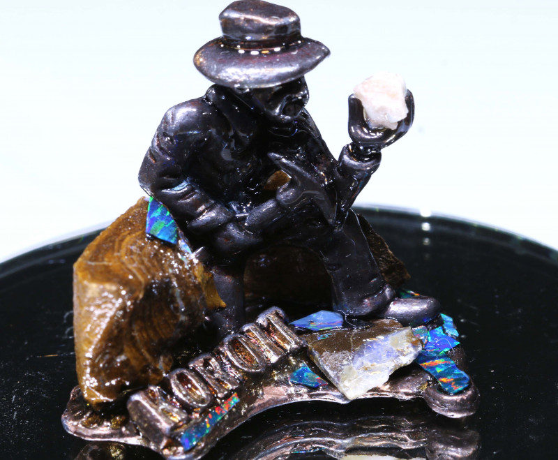 308 CTS- OPAL MINER STATUE WITH OPALS OF-3097 OPALSFOREVER