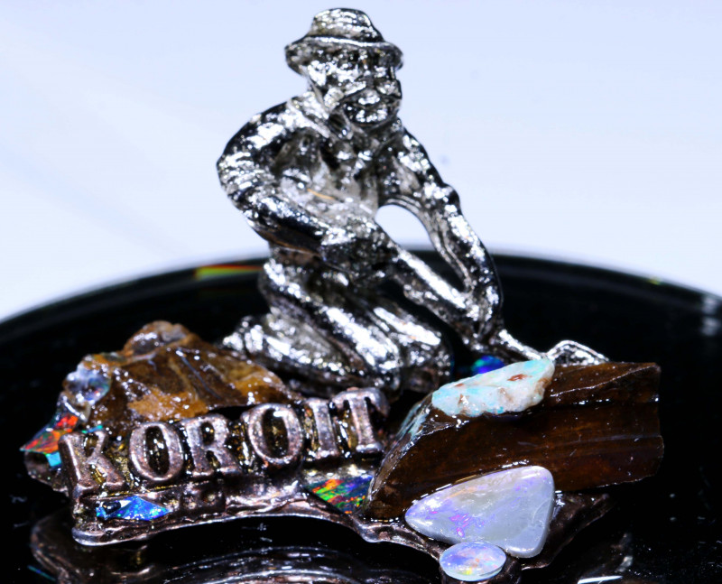 243 CTS- OPAL MINER STATUE WITH OPALS OF-3101 OPALSFOREVER