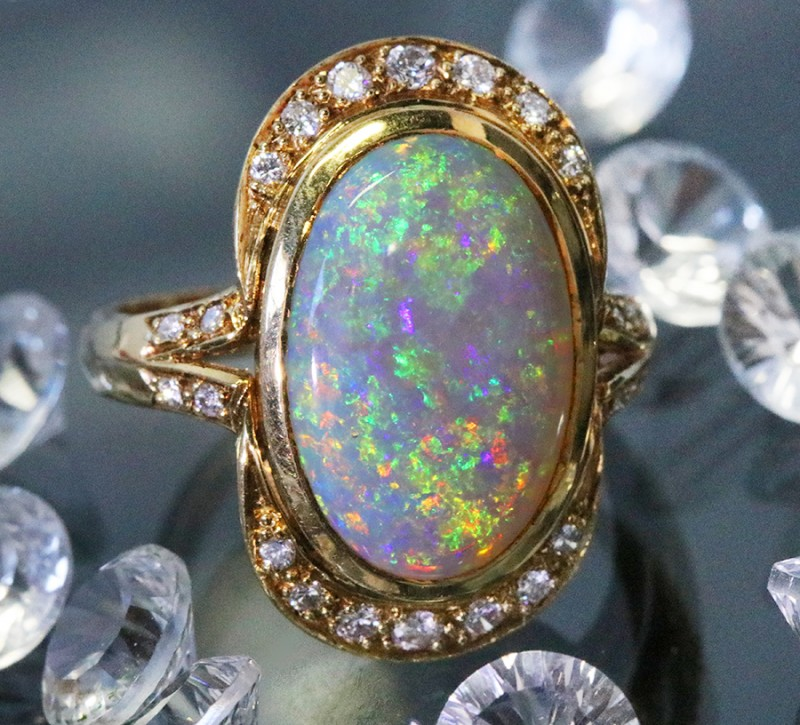 AMAZING RICH SHIMMER FIRE BLK OPAL 18K RING SIZE 8.5 SCA1426