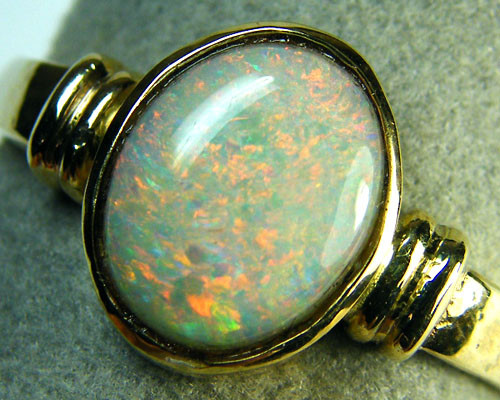 SUNSET FLASH  CRYSTAL OPAL 14K  RING SIZE 11 SCA1427