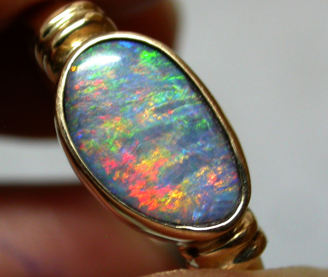 SHIMMER FLASH MINTIBY OPAL 14K GOLD RING SIZE 12.5 SCA1434