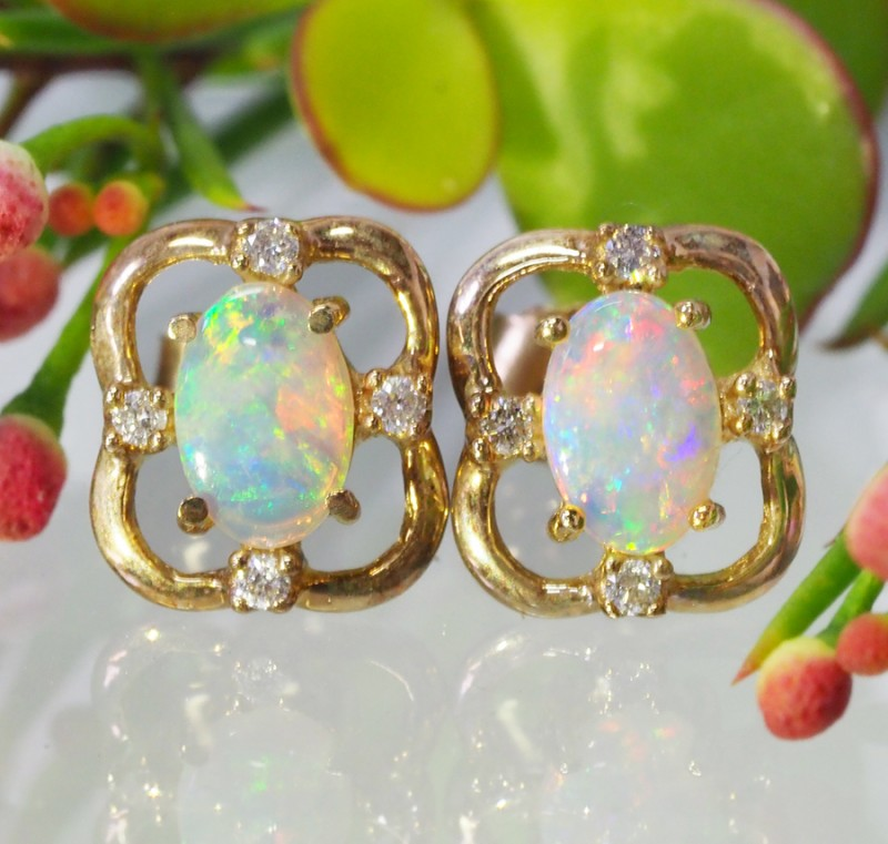 SUNSET FLASH CRYSTAL OPAL 14K GOLD EARRINGS 1 CTS MY157