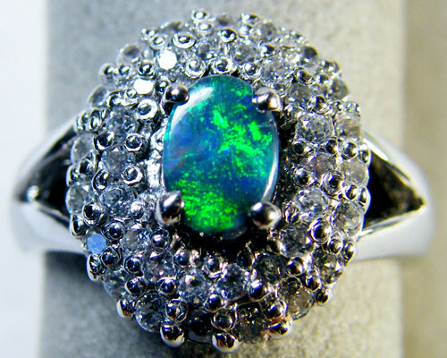 BEAUTIFUL GOOD BLACK OPAL SILVER RING SIZE 9  SCA1648
