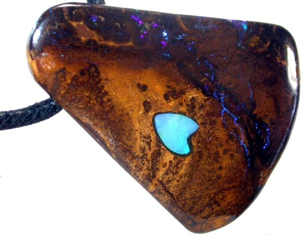LARGE OPAL INLAY PENDANT /STRAP-GREAT POLISH140CTS [BMP303 ]