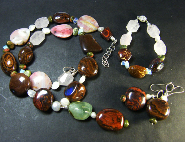 KOROIT OPAL AND GEMSTONE JEWELRY SET 1260 CTS OM1140