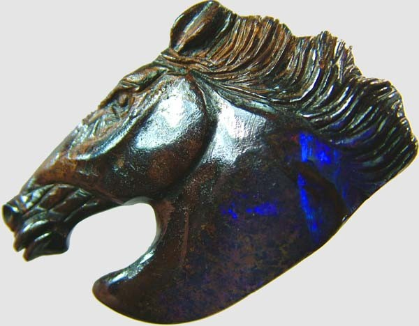 60 CTS BOULDER OPAL HORSE CARVING   [BMA1363]
