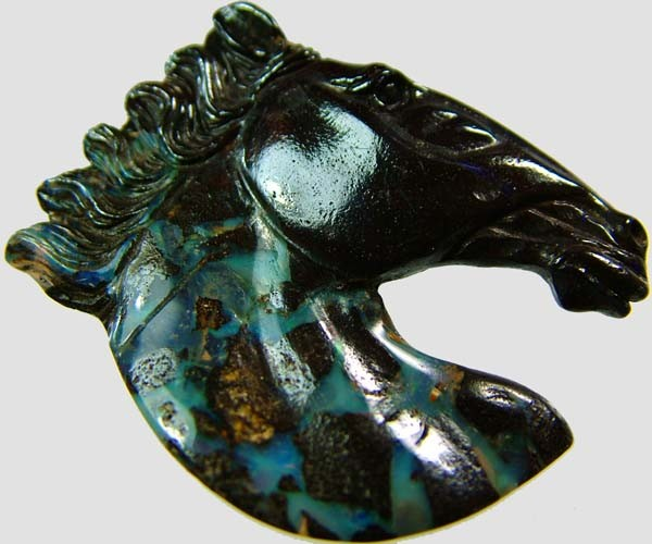 48.6 CTS BOULDER OPAL HORSE CARVING    [BMA1364]