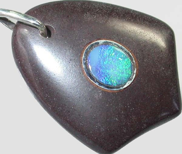OPAL INLAY PENDANT/SLIVER CHAIN-24 CTS  [BMP1400 ]