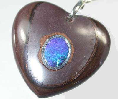 OPAL INLAY PENDANT/SLIVER CHAIN-28 CTS  [BMP1404 ]