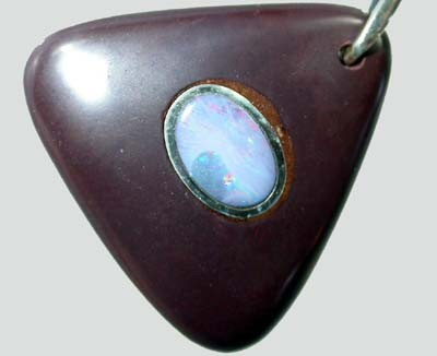OPAL INLAY PENDANT/SLIVER CHAIN-25 CTS  [BMP1419 ]