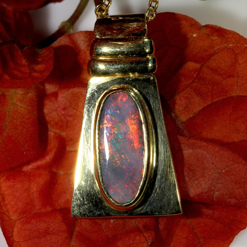 STUNNING SUNSET RED BLACK 18K GOLD PENDANT 3.3 CTS SCA418