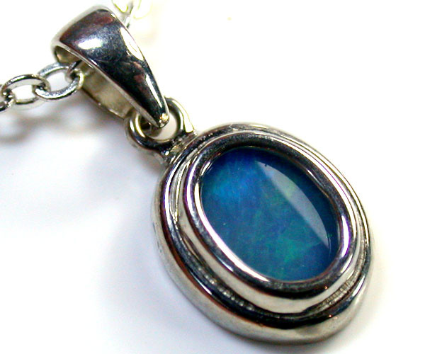 DOUBLET OPAL PENDANT 18K WHITE GOLD 0.70 CTS MY 565