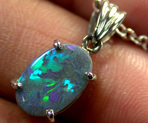 FIRERY BLACK OPAL PENDANT 18K WHITE GOLD 1.5 CTS SCA 1853