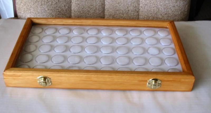 Oak, Opal & Gemstone Display Case with 50 Gem Jars (JGl-50
