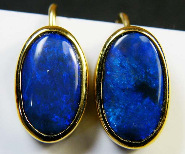 BLACK OPAL 18K GOLD EARRINGS 2.30 CTS  SCA 2128