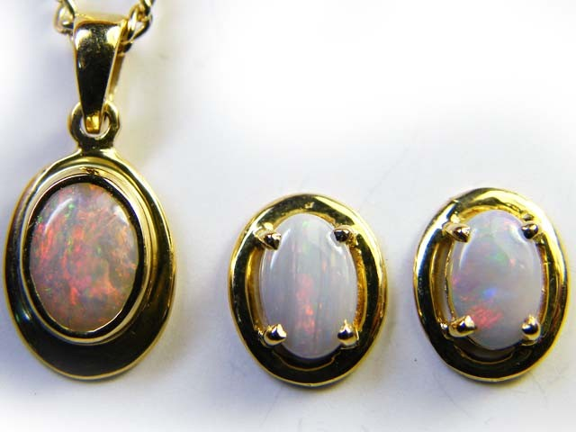 FIRE OPAL 18K GOLD PENDANT JEWELLRY SET 1.50 CTS  SCA 2175