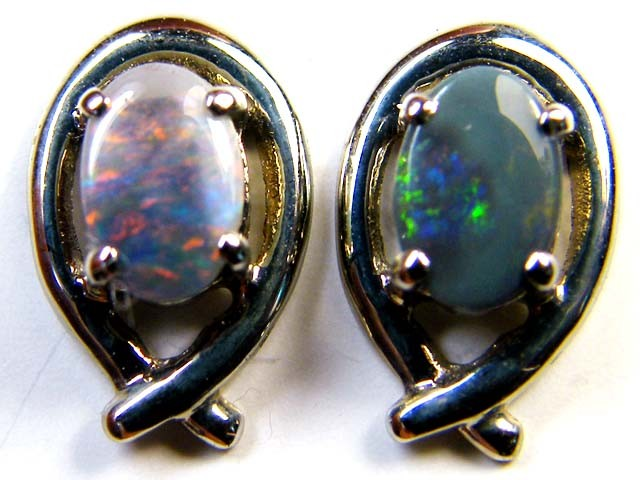 BLACK OPAL 18K GOLD EARRINGS 1 CTS  SCA 2183