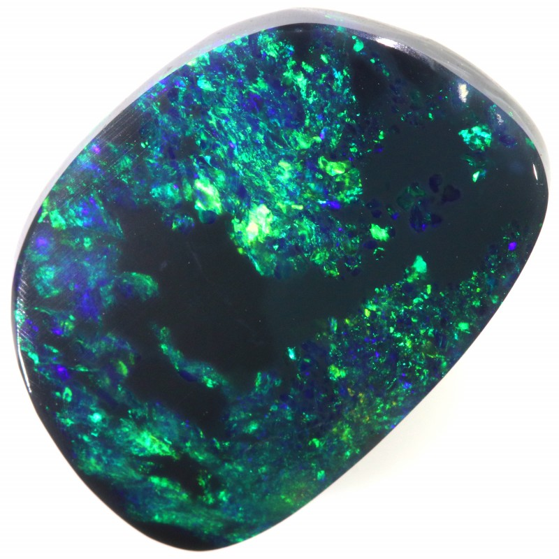 BEAUTIFUL BLEND OF GRREN FIRE SOLID CUT BLACK OPAL 5.70 CTS A637