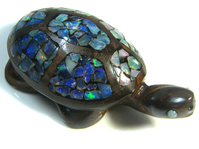 LUCKY INLAID OPAL TURTLE CARVING    164 CARATS  JO592