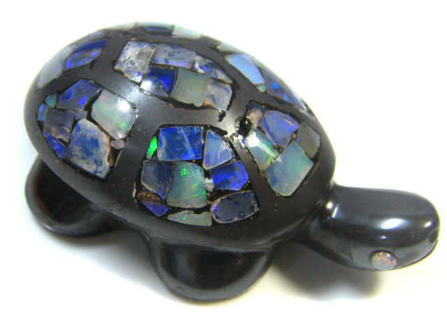 LUCKY INLAID OPAL TURTLE CARVING   169  CARATS  JO596