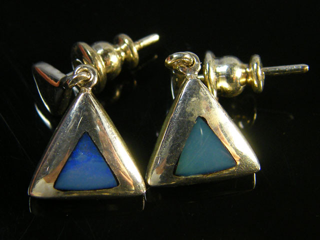 INTRO  INLAY  OPAL SILVER EARRINGS    SCA 2304