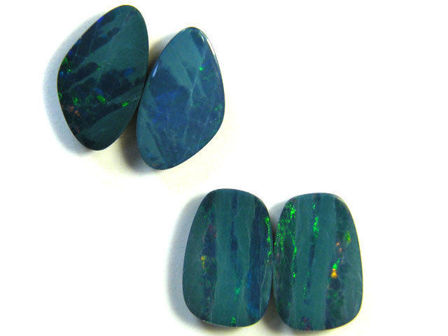 TWO PAIRS OPAL DOUBLETS 15.57 CARATS   SG2106