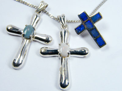 TRADE  DEAL THREE SILVER CROSS  PENDANTS  SCA 2480