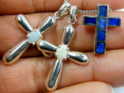TRADE  DEAL THREE SILVER CROSS  PENDANTS  SCA 2481