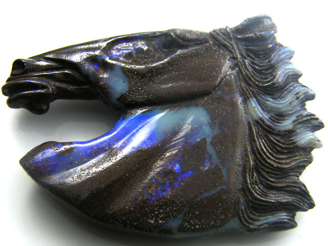 HAND CARVED HORSE  HEAD  BOULDER OPAL    118  CTS MM 839