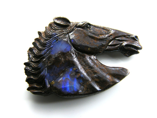 HAND CARVED HORSE  HEAD  BOULDER OPAL   197   CTS MM 843