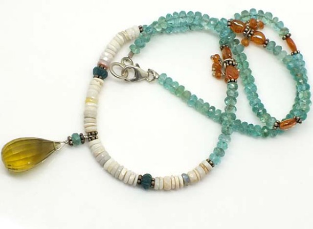 WHITE OPAL AND APATITE BEADS 98 CTS TBO-2956