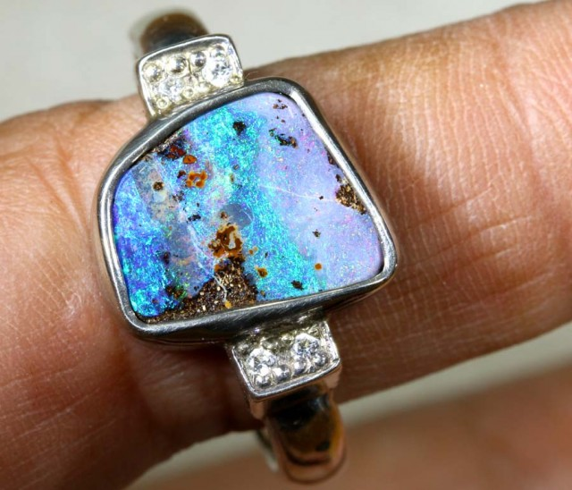 32 CTS BOULDER OPAL RING SIZE 13.5  STERLING SILVER  AS-1170