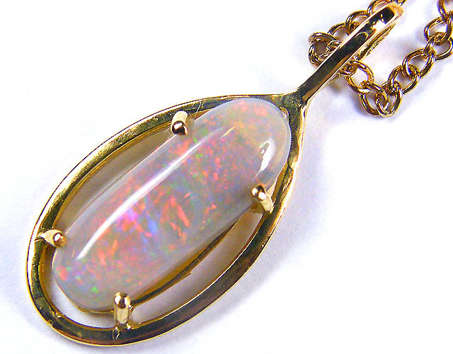 EXCITING FIRE COLOUR MIX CRYSTAL OPAL GOLD PENDANT SCO31