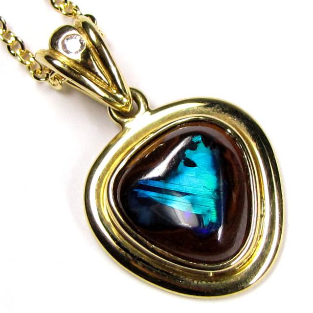 Boulder Opal With Diamenties 18K Gold Pendant SCO34