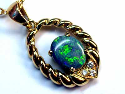 Sea Green Flash Solid Black Opal Diamenties Gold Pendant SCO150