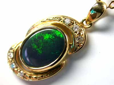 Solid Black Opal Sea Green Flash set with Diamenties SCO165