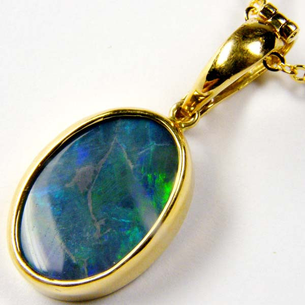 Sea Green Solid Black Opal Gold Pendant  SCO177